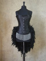 Pick Size-Black Scattered Crystal Pin Up Showgirl Saloon Girl Can Can Mo... - $149.99