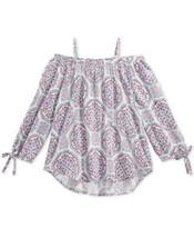 Epic Threads Floral-Print Peasant Top, Big (Light Purple, XL) - $21.13