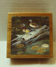 Vintage Duck Themed Square Coaster Set on Matching Wood Box - $10.00