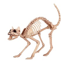 Skeleton Cat Halloween Decoration 100% Plastic Animal Bones Scary Party Prop New - $39.99