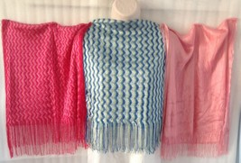 Shawl Scarf Chevron Silky Blue Pink White Rose Knit Wrap Fringe Tassel X... - $31.68
