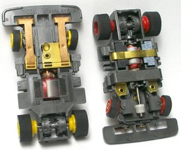 2 pc 1991 TYCO TCR Red& Yellow Wheel WIDE Slot less Car Chassis Left+ Right Lane - $19.79