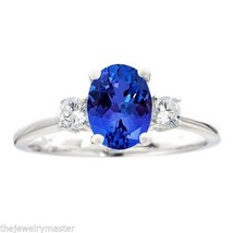 TANZANITE & DIAMOND ENGAGEMENT RING 3-STONE OVAL SHAPE 8mmx6mm14KT WHITE... - €1.015,29 EUR