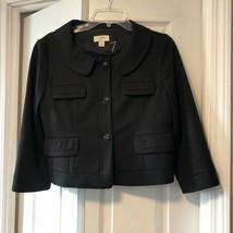 Ann Taylor LOFT Womens Sz 8 Topper Blazer Jacket Coat Black Short Lined - $16.24