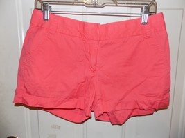J.CREW Flat Front CHINOS Broken-in Shorts Coral/Pink SIZE 4 WOMEN'S EUC - $18.63