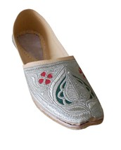 Men Shoes Indian Handmade Jutti Punjabi Leather Espadrilles Cream Mojari US 8  - $39.99