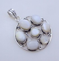 12 Gram Mother Of Pearl Stone Silver Overlay Handmade Pendant Jewelry - $8.09