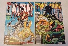 COMIC BOOK Lot 2 Marvel Wolverine 1991 #45 46 Nice NM Boarded Sleeved - $3.71