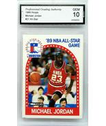"GRADED 10  HOF! MICHAEL JORDAN 1989 NBA HOOPS #21 ""ALL-STAR"" BULLS BASKETBALL - $199.95"