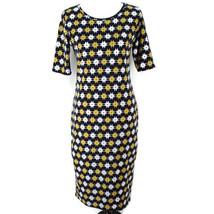 Lularoe Julia Dress Sz M Navy Yellow White Geometric Print Short Sleeve Sheath - $19.99