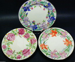 Set of 3 Lenox Suzanne Clee Day Lily Iris Rose Flower Blossob Dessert Pl... - $49.10