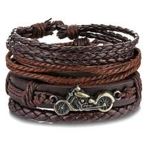 IFMIA Vintage Boho Brown Adjustable Multilayer Leather Bracelet Set For Women Ma - $12.66