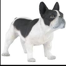 FRENCH BULLDOG BLACK AND WHITE PET BULL DOG FIGURINE PAPO TOY - $11.00