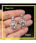 8 pcs Pearl Cage Pendant Shape Octopus Creative Bright Silver Trendy Fun... - $14.80