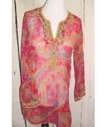 Raz Pink Beaded Sequins Embellished 100% Silk Women's Sz S Boho festival... - $19.77