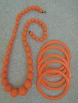 Necklace + 5 Matching Bangle Bracelets Bright Orange Costume Jewelry Set... - $12.99