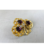 Vintage golden brooch with purple crystals Vintage purple rhinestones br... - $25.00