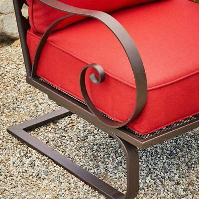 Sunvilla Sienna 5-Piece Metal Patio Fire Pit Conversation Set With Red Cushions