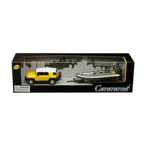 Toyota FJ Cruiser Yellow with White Top and Gray Speed Boat with Trailer... - $31.73
