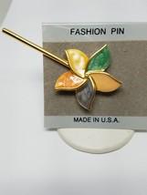 Vintage Pinwheel Brooch Green Purple Pink Yellow Ename - $12.59