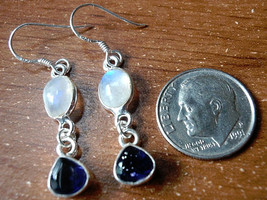 Faceted Iolite & Moonstone Dangle Earrings 925 Sterling Silver  - $32.57