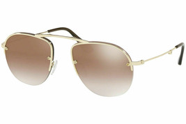 NEW PRADA Folding Sunglasses SPR 54US ZVN-1K2 Gold /Gradient Mirror Gold... - $213.82