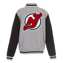 NHL New Jersey Devils Reversible Full Snap Fleece Jacket JH Design Gray ... - $119.99