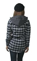 Insound Womens Black Flannel Tunic Shirt Hoodie Build in Ear buds Headphones NWT image 3