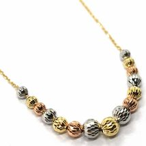 18K YELLOW WHITE ROSE GOLD NECKLACE, ALTERNATE FACETED WORKED BALLS SPHERES image 3