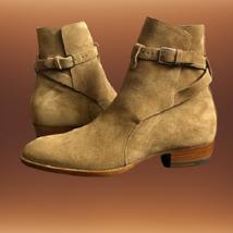 Handmade Men Monkstrap Beige High Ankle Boots image 4