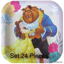 Belle and Beast Party Favors Party Birthday Plates CAKE Dessert Princess... - $16.78