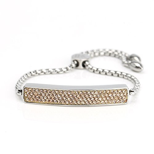 UNITED ELEGANCE Silver Tone Bar Bracelet With Champagne Swarovski Style Crystals