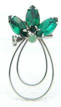VTG Silver Tone Green Rhinestone Abstract Flower Pin Brooch - $24.75