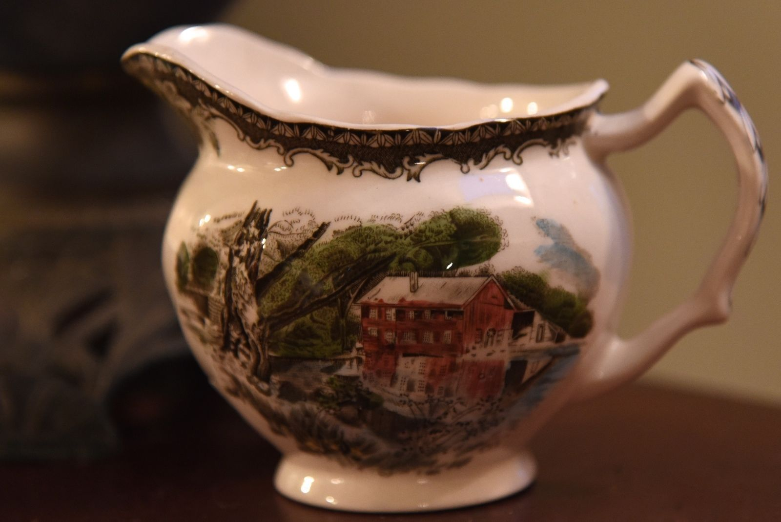 Primary image for VINTAGE CREAM PITCHER THE FRIENDLY VILLAGE MADE IN ENGLAND JOHNSON BROS. CHIPPED