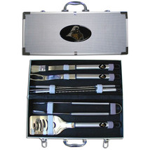 purdue boilmakers 8 piece tailgater stainless steel bbq set w/ metal case - $90.24