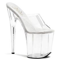 "PLEASER Sexy Stripper Dancer Shoes Slip On Tall Clear Platform 8"" High Heels - $51.95"