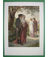 VICTORIAN LOVE Life Parents Happy Daugther Dating - SUPERB COLOR Litho P... - $18.90