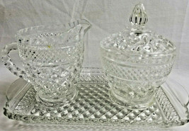 Wexford by Anchor Hocking Set Sugar Bowl/Lid, Creamer, Cranberry Plate Crystal - $49.99