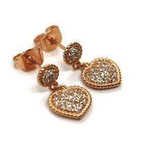 REBECCA BRONZE EARRINGS, 18 MM, PINK HEART, ZIRCONIA, B14ORB11, MADE IN ITALY image 2