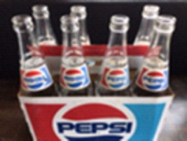 Vintage Glass Pepsi-Cola Bottles - 7 in original cardboard carrier - $98.00
