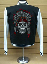 Varsity Collage Baseball BLACK/WHITE Fleece Jacket Indian Chief With Hed Dress - $29.69+