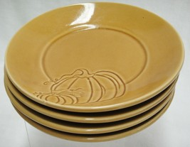 "Pier 1 Harvest Gold Pumpkin Design 6.5"" Bread or Dessert Plate Lot of 4 ... - $24.74"