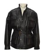 Men Black Real Distressed Cow Leather Jacket - $199.99