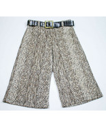 XTRAORDINARY GIRLS SIZE 8 BROWN ANIMAL PRINT CROPPED PANTS & BELT  - $18.80