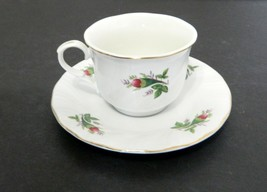 Lynns Fine China Victorian Rose Coffee / Tea Cup and Saucer Gold Trim Re... - $14.73