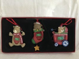KOHLS Baby's First Christmas Set of 3 Resin Bears Photo Personalized Orn... - $21.77