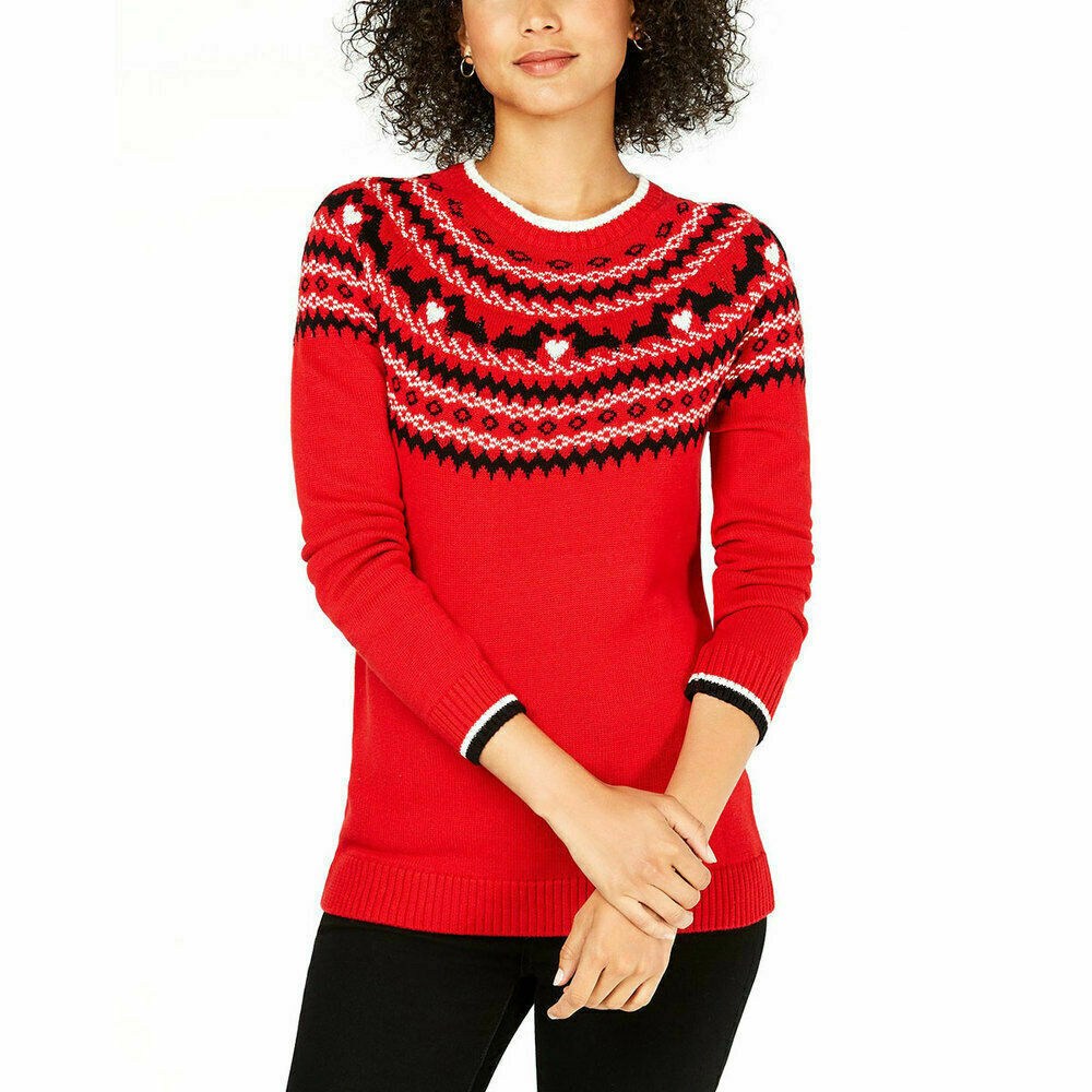 Primary image for Charter Club Women's Scotty Dog Fairisle Sweater Red XL NWT