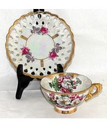 Royal China Luster Ware Tea Coffee Cup Saucer Floral Japan Iridescent Vi... - $24.75