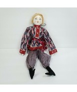 """Russian Rag Doll Plush Blond Hair Red Blue Paisley Outfit 20"""" Handmade M... - $21.77"""
