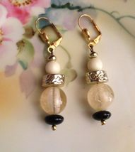 VTG 80s Gold Tone Black/White/Clear Beaded Drop/Dangle Pierced Earrings ... - $8.99